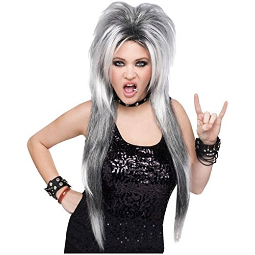 Grey Skeleton Reaper Robe For Kids (Silver Rocker Wig Costume Accessory)