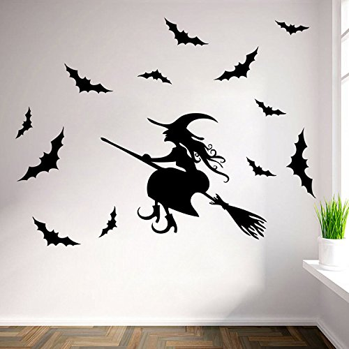 Halloween Wall Sticker Witch with Bat DIY Window Decorative Wall Art Stickers Removable Vinyl Mural by Yunhigh