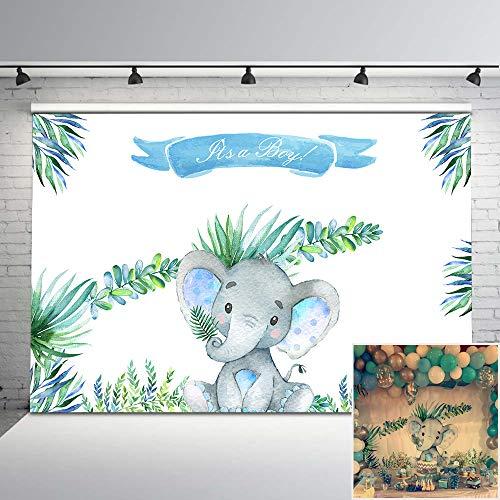 Mehofoto Little Elephant Baby Shower Backdrop It's a Boy Elephant Baby Shower Background 7x5ft Cute Little Elephant Watercolor Leaves Backdrops for Baby Shower Photoshoot -