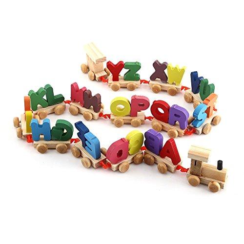 Set Alphabet Train (Yosoo colorful Wooden Alphabet Train Toy Set Kids Educational Toy Alphabetical Assemble Toy Set)