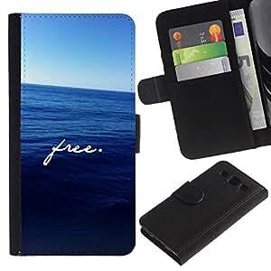 SAMSUNG Galaxy S3 III / i9300 / i747 Modelo colorido cuero carpeta tirón caso cubierta piel Holster Funda protección - Free Text Motivational Sea Freedom