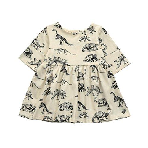 Goodtrade8 Toddler Baby Girl Ruffle Dinosaur Sundress Newborn Infant Long Sleeve Maxi Dress (12-18 Months, Beige)
