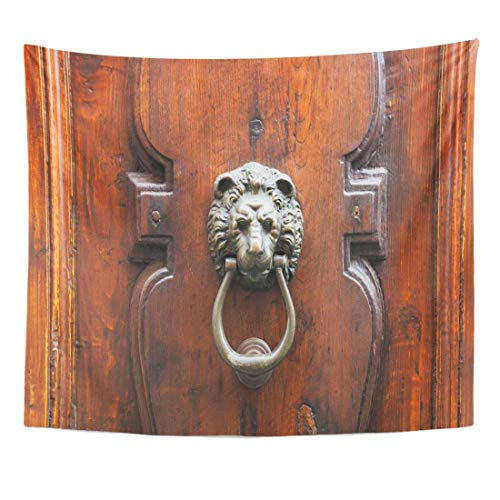 Tapestry Brown Ancient Travel to Italy Lion Head Knocker on Old Wooden Door in Florence City Apartment Home Decor Wall Hanging for Living Room Bedroom Dorm 50x60 inches