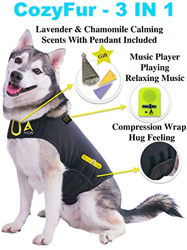 CozyFur Patented Dog Anxiety Vest Calming Music Speaker Lavender Essential Oil Scent Thunderstorm Treats Canine Stress Relief FireWorks Thunder Separation Shirt Jacket Coat (Black, XXL (110 Lbs & ()