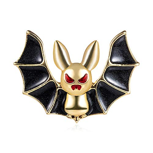 Halloween Enamel Bat Vampire Animal Crescent Moon and Stars Pin Hat Backpack Coat Lapel Pin Witch Spooky Jewelry (Black)