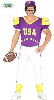 4a5da8e16e09 Guirca- Costume Giocatore Football Uomo, Colore Giallo,Bianco e Viola, L (