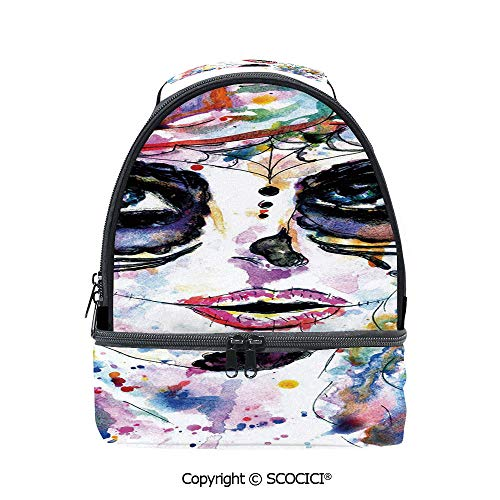 SCOCICI Large Capacity Durable Material Lunch Box Halloween Girl with Sugar Skull Makeup Watercolor Painting Style Creepy Decorative Multipurpose Adjustable Lunch Bag