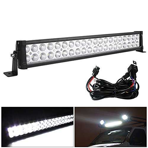 LED Light Bar LEDKINGDOMUS 120W 24 inches Light Bar Spot Flood Combo Light Compatible for SUV, Jeep, Pickup, ATV, Truck, Off Road, Car, Boat, LED Bar Fog Driving Lights with Wiring Harness