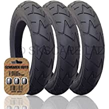 """3 x PEG PEREGO GT3 Suitable Stroller / Push Chair / Buggy Tires to fit - 12 1/2"""" x 1.75 - 2 1/4 (Black) + + FREE Upgraded Skyscape Metal Valve Caps (Worth $4.99)"""