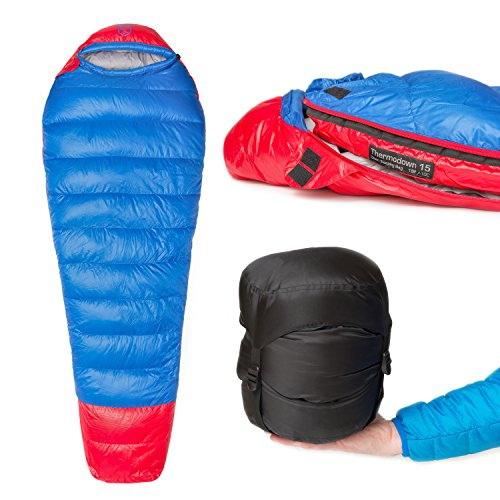 Paria Outdoor Products Thermodown 15 Degree Down Mummy Sleeping Bag - Ultralight Cold Weather, 3 Season Bag - Perfect for Backcountry Camping and Backpacking (Short)
