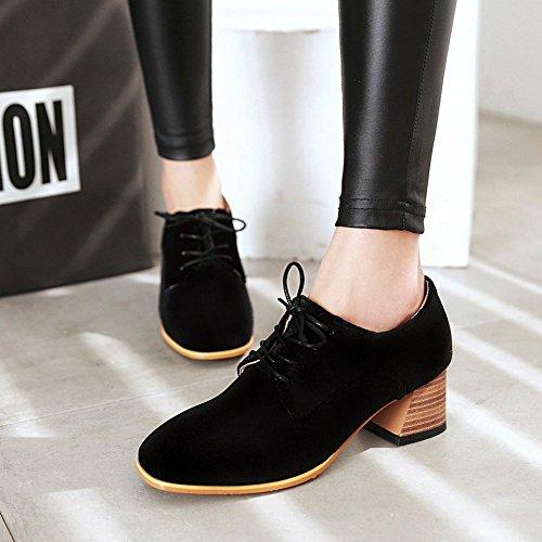 Show Shine Womens Square Toe Lacing Up Oxfords Shoes Black 0B61w2R