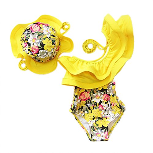 Baby Kids Girl One Piece Swimsuit Floral Ruffle Swimwear Bathing Suits With Hat(100/2-3 Years) -