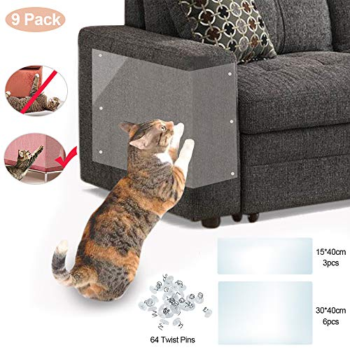 Furniture Protectors From Cats, Scratch Protection Tapes For Pet 9 PackCouch Guard Anti Cat Scratching Products with 3pc 0.01mm 15x40cm 6pc 0.02mm 30x40cm 64 Twist Pins, Residue Free Strong Viscosity