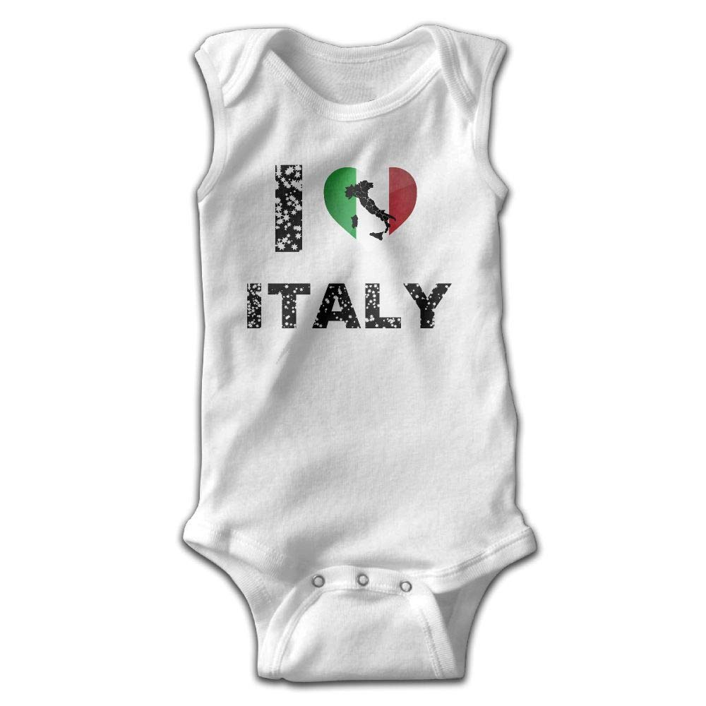 I Love Italy1 Infant Baby Boys Girls Crawling Clothes Sleeveless Rompers Romper Jumpsuit White