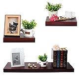 Cheap WOLTU Set of 3 Floating Wall Shelves Wood Ledges Display Shelf Set with Hidden Brackets, Dark Wood