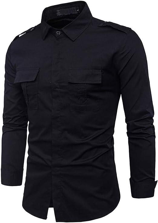 Camisa de Manga Larga de algodón de Combate Casual de algodón ...