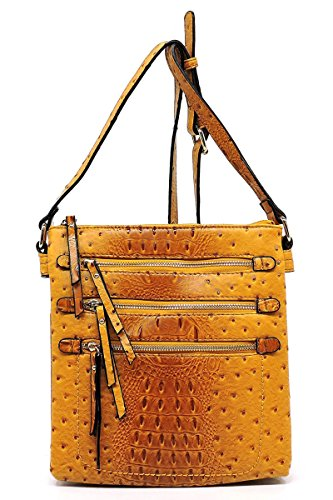 Elphis Compartments Messenger Multi Day Purse Croc Pocket Zipper Bag Bag Ostrich Double Mustard Satchel Crossbody rYRwUr