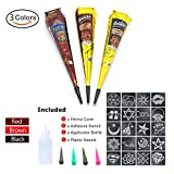 WETONG Henna Tattoos Kits -3 Color Temporary Henna Tattoo Paste Cone with 20 x Adhesive Stencil, 1 x Applicator Bottle and 4 x Plastic Nozzle