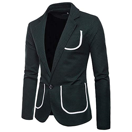 Charm Men's Casual One Button Fit Suit Blazer Coat Jacket Houndstooth -