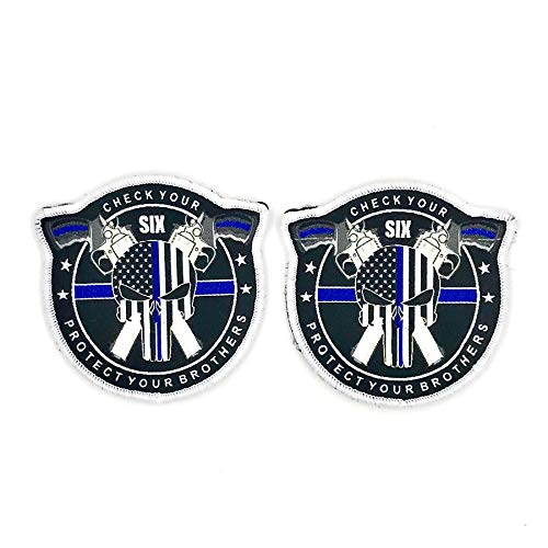 """Punisher Thin Blue Lin Embroidered Patch with Hook and Loop""""Watch Your Six, Protect Your Brothers"""" Decorative Embroidered Appliques by AIIZ Collectibles (2)"""