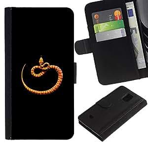 All Phone Most Case / Oferta Especial Cáscara Funda de cuero Monedero Cubierta de proteccion Caso / Wallet Case for Samsung Galaxy S5 Mini, SM-G800 // naranja negro naturaleza minimalista serpiente