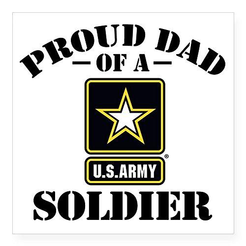 CafePress Proud U.S. Army Dad Square Sticker 3 X 3 Square Bumper Sticker Car Decal, 3