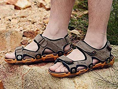Comfortable Slipper Male Leather Sandals Summer Leisure Male Sandals Outdoor Beach Shoes Non-Slip Breathable Casual Comfortable Convenient Sandals