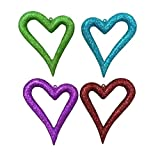 Set of 4 Multi-Colored Glitter Asymmetrical Heart Christmas Ornaments