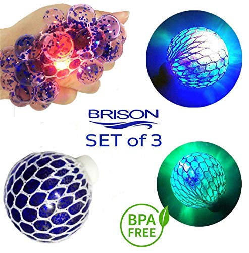Set-of-3 Led Anti-Stress Ball - Squishy Light-up Ball