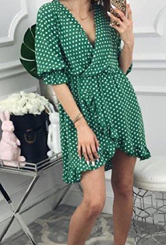 Baggy Sleeve Summer Green Polka Neck Coolred Dresses Women Dot Half Flouncing Print V xqXxHzt