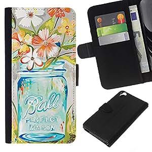 Stuss Case / Funda Carcasa PU de Cuero - Florero del arte floral - HTC Desire 820