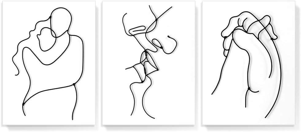 Gronda Black and White Wall Art Minimalist Artwork Wrought Iron Line Art Modern Romantic Lovers Metal Decor Ready to Hang for Bedroom Bathroom Living Room 12x16 Inch, 3 Panels
