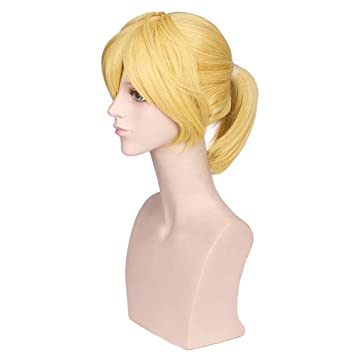 BERON Short Straight Blonde Wigs with Ponytail