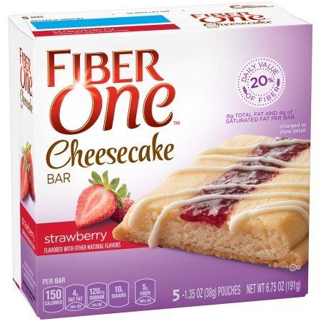 Fiber One Cheesecake Bar, Strawberry, Dessert Bar, 5 Fiber Bars, 6.75 oz (Pack of 2)