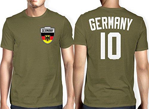 Olive Green Football (Mens Germany - German - Soccer Football T-shirt (Medium, OLIVE)