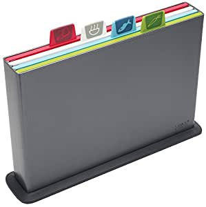 Joseph Joseph 60064 Index Cutting Board Set with Storage Case Plastic Color Coded Dishwasher-Safe, Large, Gray (discontinued model)