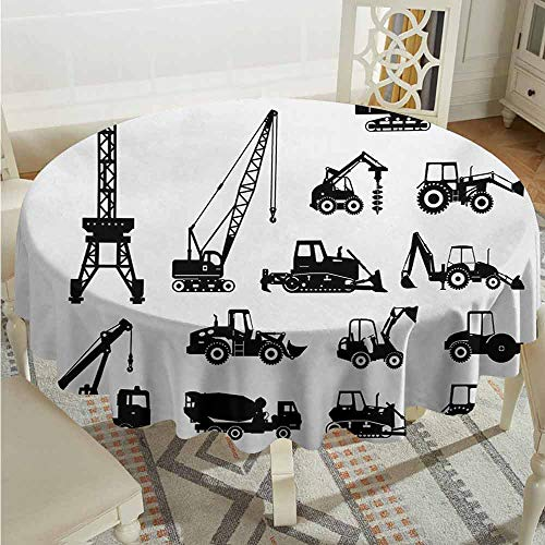 XXANS Washable Round Tablecloth,Construction,Black Silhouettes Concrete Mixer Machines Industrial Set Trucks Tractors,Party Decorations Table Cover Cloth,40 INCH,Black White
