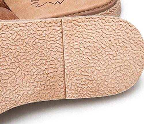 Grrong Vrouwen Sandalen Voor De Zomer Nieuwe Casual Leren Slippers Mode Retro Platte Schoenen
