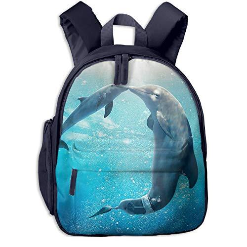 Flayewish School Backpack for Student, Cute Kiss Dolphin Tale Pattern Cartoon Backpacks Book Bag ()