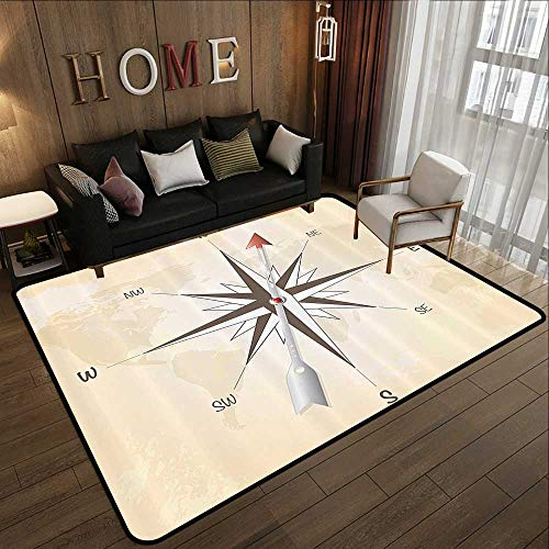 (Indoor Outdoor Rugs,Compass Decor Collection,Compass Rose with Metal Arrow on Vintage Grungy Background Travel Navigation Art,Beige Red 35