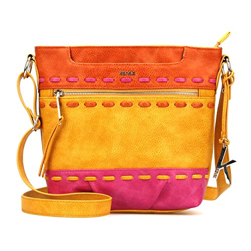 Kensie Womans Fashion Designer Timbuktu Medium Crossbody Shoulder Bag Snap Top Purse for Women Dijon Gold Multicolor