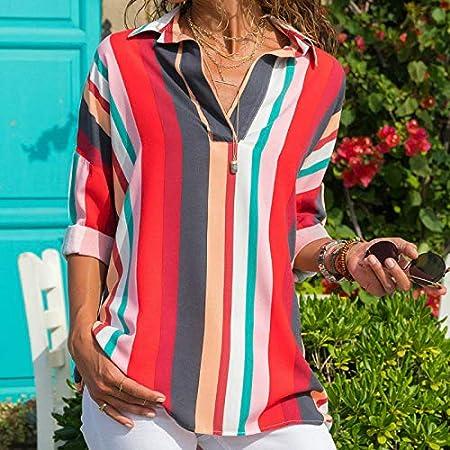 CHZDNSCS Camisa Blusa De Rayas De Verano para Mujer Camisa ...