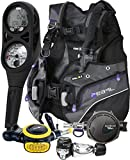 Aqualung Womens Pearl BCD Titan Regulator Dive Computer Scuba Package (X-Small, Black / Twilight)