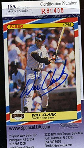 WILL CLARK 1988 FLEER SUPERSTARS Hand Signed COA Autographed Authentic - JSA Certified - Baseball Slabbed Autographed - Clark Will Mlb