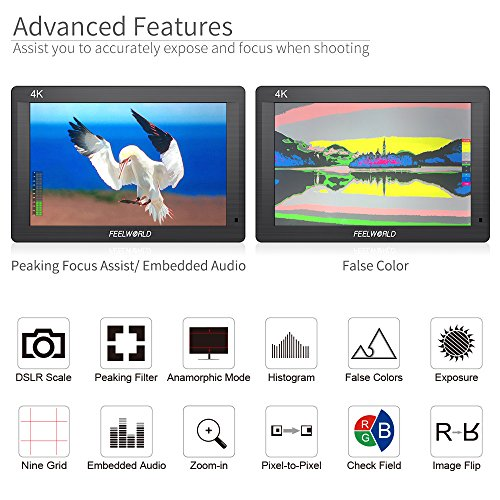FEELWORLD FH7 7 inch DSLR On Camera Field Monitor Video Assist IPS Full HD 1920x1200 4K HDMI Input Output LCD Screen External Display with Histogram Focus Assist Zebra False Colors.