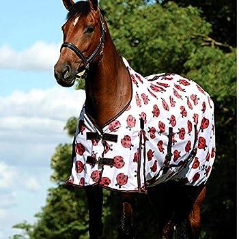 Saxon Mesh Turnout with Gusset Belly Wrap Standard Neck Ladybug Print 72