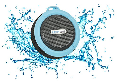 PartyTime Splash Beats Waterproof Speaker for the Shower and Outdoor Events with Clear 5-Watt Speaker Sound, Built-In Mic for Hands-Free Speakerphone, and Bluetooth Speaker Connection
