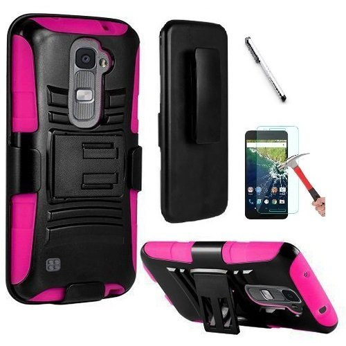 Lg Blue Phone Faceplates (LG K8 Case, LG Escape 3 Case, LG Treasure L52VL case, Luckiefind® Hybrid Armor Stand Case with Holster and Locking Belt Clip, Stylus Pen, Tempered Glass Screen Protector Accessory (Holster Pink))