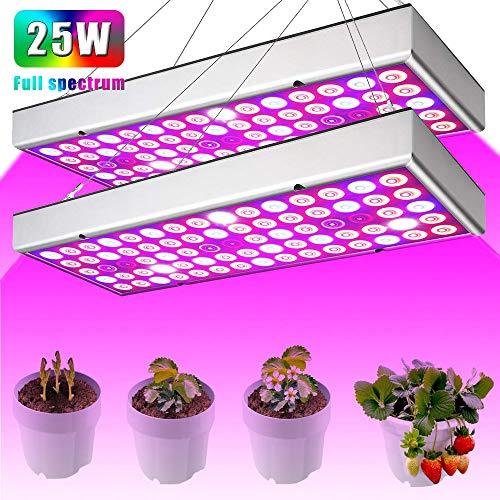 Led Grow Light 25W Full Spectrum Plant Lights Red Blue White Panel Growing Lamps with UV IR for Indoor Plants Vegetable Flower Seedling(2 - Uv 25w Lamp