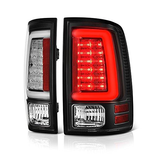 VIPMOTOZ For 2013-2018 RAM 1500 2500 3500 LED Model Black Bezel OLED Neon Tube LED Tail Light Brake Lamp Housing Assembly Replacement Driver & Passenger Side Dodge Neon Tail Lamp